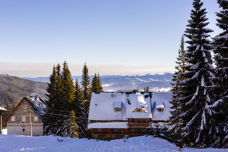 Beautiful colorful landscape in Snowmass - a ski resort with a background of a small residential area small huts surrounded by trees