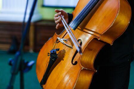 plucking: musician playing double bass artist concert instrument Stock Photo