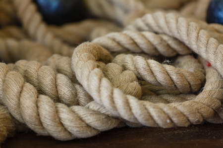 Close Up of Boat Rope Tied on Figure Eight Cleat Hitch rope on the ship