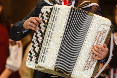 Musician playing accordions musician plays the accordion on white Stock Photo