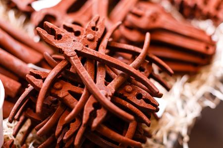 chocolaty: Belgium, Brussels December 2016 Various tools made of chocolate Stock Photo