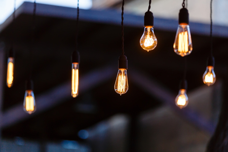 Luxury retro light bulb glowing Stock Photo