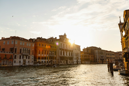 water bus: View of the canal in the morning at dawn. Venice, Italy.