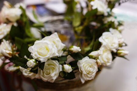 close up basket of white roses