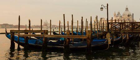 Gondolas of Venice in the morning light. Italy. Standard-Bild