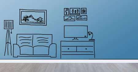 interior and real estate concept - new home over furniture cartoon or sketch background Stock Photo