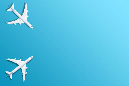 white airplane on a blue background, top view 3d rendering