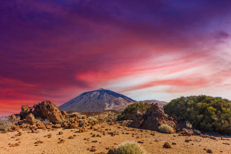 Lava flow around Mount Teide volcano, Teide National Park, Tenerife, Canary Islands, Spain