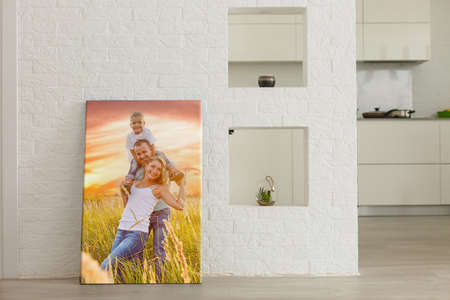 wall art photo canvas in room interior.