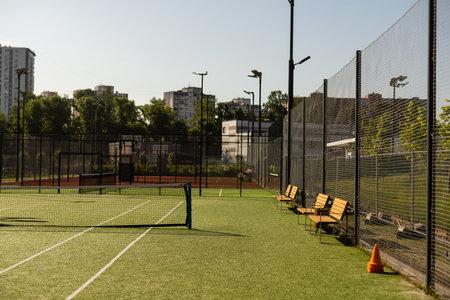 empty tennis grass court Aerial