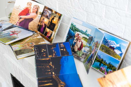 the photo album is decorated in a beautiful photobook. Presented on a white background