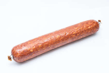 Smoked sausage. Top view. Isolated on a white.