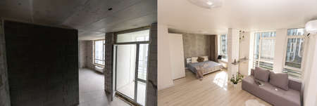 home renovation, empty room before and after refurbishment or restoration