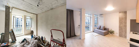 Room with unfinished walls and a room after repair. Before and after renovation in new housing. Foto de archivo