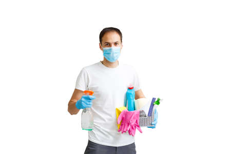 portrait of man with cleaning equipment isolated over white background
