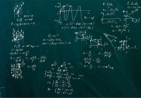 Handwritten equations on a green blackboard