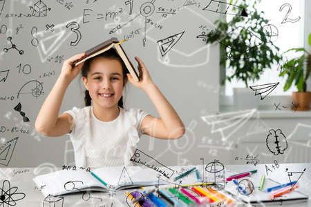 funny little girl science student formula background