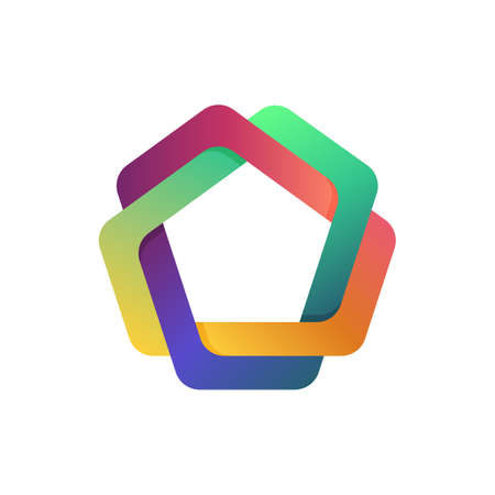 pentagon abstract colorful geometric shape. abstract pentagram logo with colorful gradient modern style for branding, business, design element, symbol, sign, icon Logo