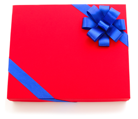 Red gift box with blue ribbon isolated on white color background