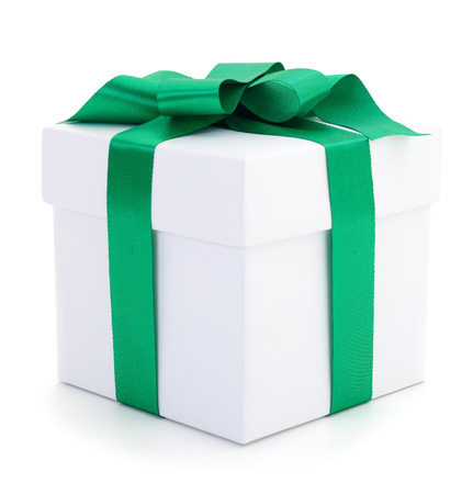 White gift box with green ribbon isolated on white color background.