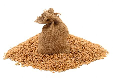 A bag of grain and wheat bran on a white background.