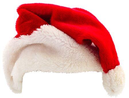 De rode hoed van de Kerstman die op witte achtergrond wordt geïsoleerd