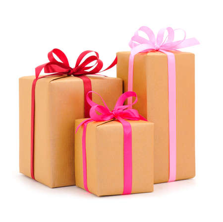 Gift boxs or present wrapped in craft paper. Holiday present.