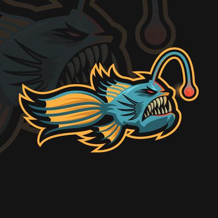 Angler fish e sport logo Illustration