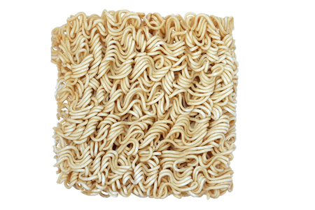 block of dried Instant noodles isolated on a white background Stock Photo