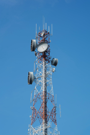 Antenna Tower of Communication on blue sky