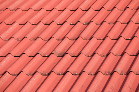 tile roof: Red tile element of roof Stock Photo