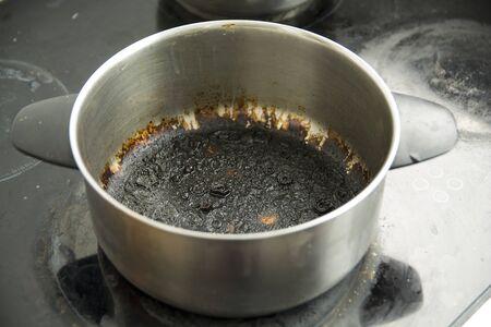 Empty burnt pot with black bottom