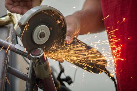 Cutting a bicycle U-Lock, using a Circular Disc saw