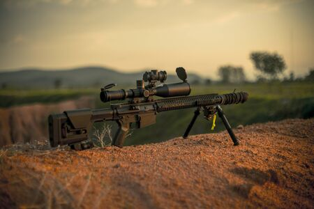 midlength rifle ar10 and subpressor Banque d'images