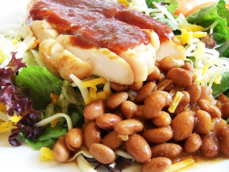 Chicken Salad with Cheese and Red Beans