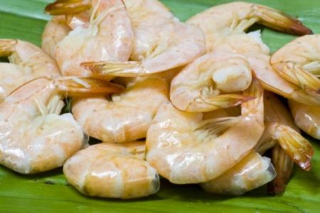 Close up boiled shrimp on a banana leaf