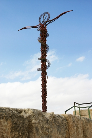 Brazen Serpentine Cross Statue in Mount Nebo, Jordan