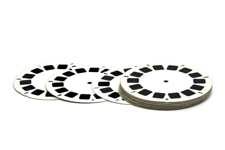 3D film reels isolated Stock Photo