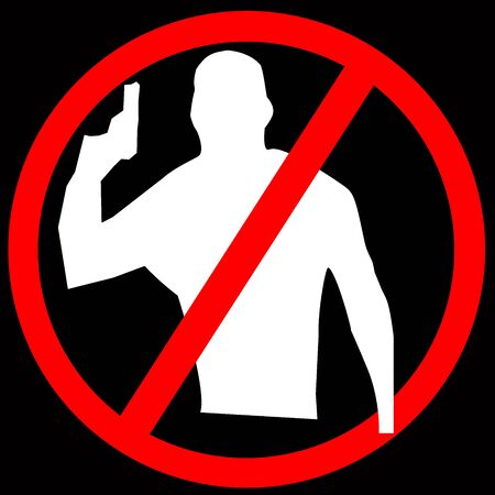 No Gun, No Armed People Allow Circle Sign Illustration, Silhouette, Isolated illustration