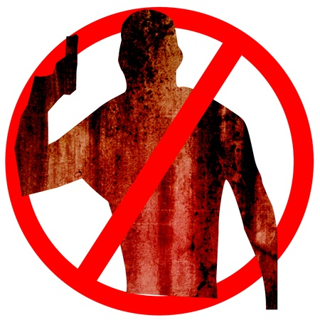 No Gun, No Armed People Allow Circle Sign Illustration, Silhouette, Isolated