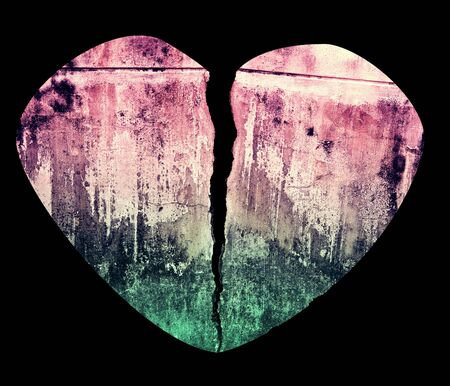 Broken Heart Grunge Crack Style Illustration Isolated on Black Stock Illustration - 17379416