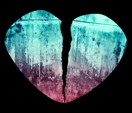 Broken Heart Grunge Crack Style Illustration Isolated on Black