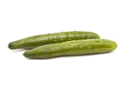 Japanese Cucumber, two shot, isolated on white Stock Photo