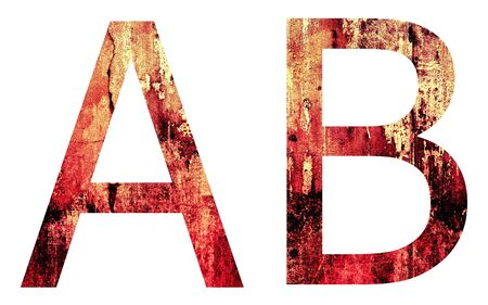 Grunge Letter A and B, Crack Surface Style, isolated on white Stock Photo