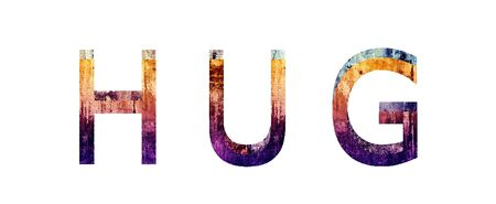 depress: Hug 3D Text Grunge Style Texture Illustration Stock Photo
