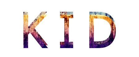Kid 3D Text Grunge Style Texture Illustration Stock Illustration - 17603000