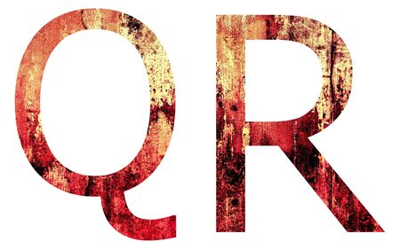 Grunge Letter Q and R, Crack Surface Style, isolated on white