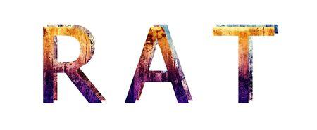 Rat 3D Text Grunge Style Texture Illustration