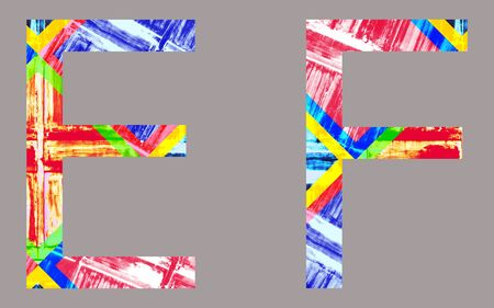 Colorful Vivid e and f Letter, isolated photo