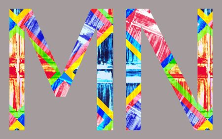 mn: Colorful Vivid m and n Letter, isolated